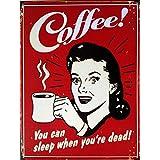 Coffee Publicidad Póster Metal Estilo Antiguo roja metal Cartel Publicidad Café 2ganchos
