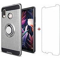 Huawei P20 Lite Hülle Silikon Handyhülle TPU+PC Schutzhülle Doppelter Schutz Anti-Kratzer 360-Grad-Drehring Magnetisches Auto Case Cover für Huawei P20 Lite+Gehärteter Glasfilm-Silber