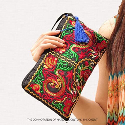 BHM Brieftasche, Damenbrieftasche - Ethno-Stil Geldbörse - bestickte Tasche - Clutch - Mode - bestickte Handtasche