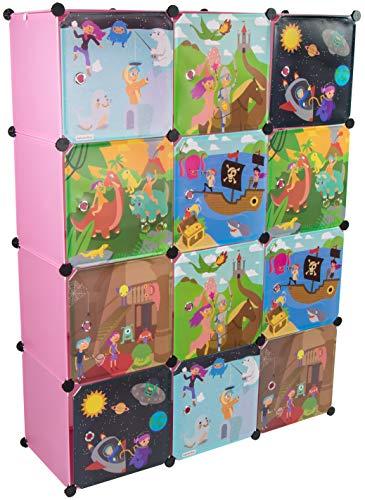 KEKSKRONE Sehr Großer Kinderschrank Bunte Motiv-Türen - DIY Stecksystem - 12 Module je 37 x 37 x 37 cm, Rosa | Kinderzimmer-Schrank | Kinderkleiderschrank | Baby-Regal | Spielzeugkommode