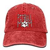 Unisex Washed Pitbull Mom Fashion Denim Baseball Cap Adjustable Travel Hat