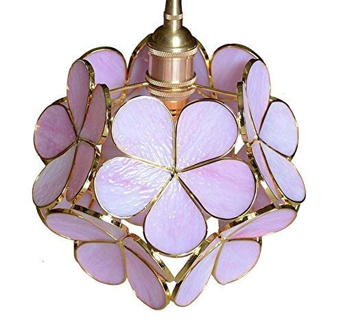 HELIn Kreative Japanischen kronleuchter Blütenblatt Kronleuchter Reines Kupfer Lampenfassung Leuchte Deckenleuchte Glasmalerei Lampenschirm for Esszimmer Badezimmer Schlafzimmer Wohnzimmer -