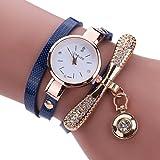 Sonnena Damen Armbanduhren, Mode Edelstahl Analoge Quarz Armbanduhr Frauen Metallband Damenuhr Frauen Armband Uhr Mode Strass Armbanduhren Wrist Watch (Dunkelblau)
