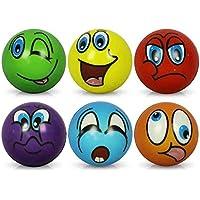 Lot de 6balles anti-stress - Motif de visages drôles - Diamètrede 6cm