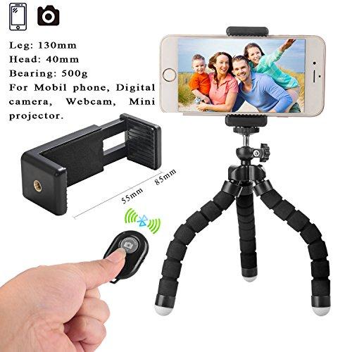 Mini Handy Stativ Flexibel Stativ für iPhone mit Handyhalterung mit Fernbedienung für alle Smartphone wie iPhone 7 Plus, Samsung S7 edge und Kamera Test