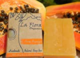La Flora Organics Pure Papaya Handmade Soap Bar with Papaya Fruit and Natural