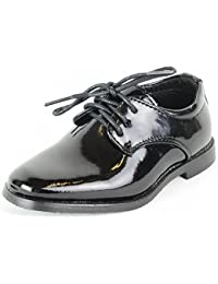 Zapato infantil de vestir elegante zapato de niño de charol negro para Confirmación Comunión Boda - negro, 29