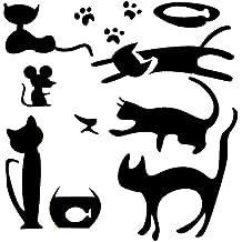 5er Vinyl Wandtattoo mit Katzen, schwarz mit Zubehör