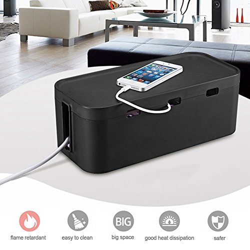Kabelmanagement Box, Soriace Baby Sicherheit Kabelbox, Organisieren Kabelführung Kabelorganisation Steckdosenorganizer - für Hause / Büro / Schule (Schwarz)