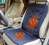 ObboMed SH-4150F 12V 45W Beheizbare Sitzauflage Sitzkissen mit Patentiert Zigarettenanzünderstecker und sicheren Befestigungshaken für Fahrzeuge; Schwarz - 100 x 43 cm