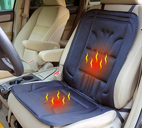 ObboMed SH-4150F 12V 45W Beheizbare Sitzauflage Sitzkissen mit Premium Zigarettenanzünderstecker und sicheren Befestigungshaken für Fahrzeuge, zu Hause und Büro; Schwarz - 100 x 43 cm