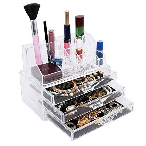Kurtzy Double Layer Beauty Vanity Jewellery Clear Acrylic Make Up Cosmetic Display Stand & Organizer Rack, Holders.