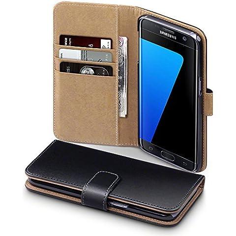 Samsung Galaxy S7 Edge Funda Cartera con tapa para billetera y compartimento para dinero - Negro con el interior tostado