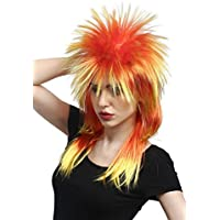 WIG ME UP ® - DH1069-PC2BTPC13 Wig Ladies Men Halloween Carnival 80s Glam Punk Wave Pop mullet with spiky hair yellow red