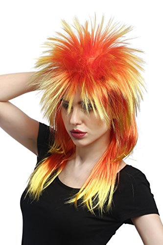 Unisex Fire Coloured Punk Rock Wig