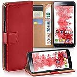 moex Samsung Galaxy S5 Mini | Hülle Rot mit Karten-Fach 360° Book Klapp-Hülle Handytasche Kunst-Leder Handyhülle für Samsung Galaxy S5 Mini Case Flip Cover Schutzhülle Tasche