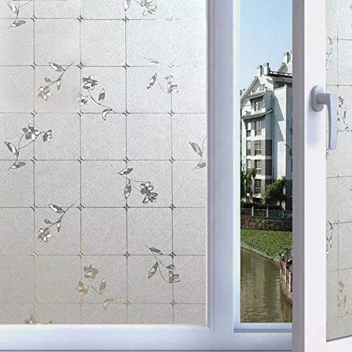 QTQHOME 3D Statische Frosted Glas Fensterfolien,Kein leim Privatsphäre Film Schutzfolie Aufkleber Blickdichter Fenster Schutz Dekoration Vorne Badezimmer Büro Zimmer-A 120x100cm(47x39inch) -