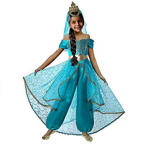 Kostüm Aladdin Jasmin - Pettigirl Mädchen Prinzessin verkleiden Sich Kostüm Cosplay Party mit Krone Schleier