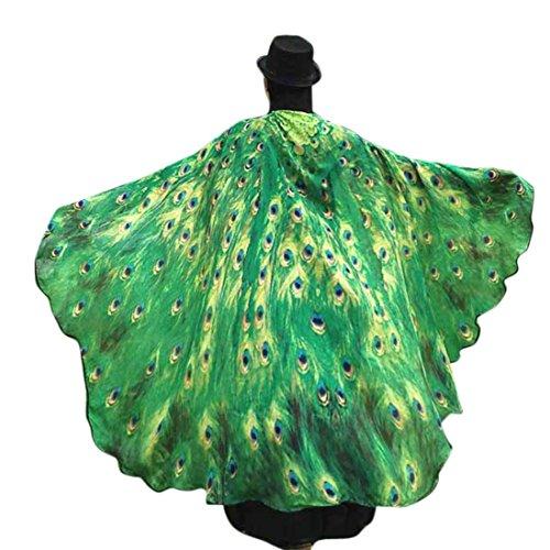 Overdose 197*125CM Frauen Weiche Gewebe Schmetterlings Flügel Schal feenhafte Damen Nymphe Pixie Kostüm Zusatz (197*125CM, Grün)