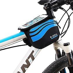 Bolsa bicicleta frontal 2-lados alforja delantera bolsa de manillar de 5.8 Pulgadas Móvil PVC Transparente Impermeable Bolso Para MTB bicicletas de montaña (Azul)