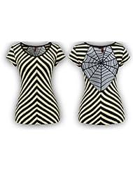 Style Nuvo - T-Shirt Coton Sexy Rayures Pour Femmes Toile Araignée Moulant