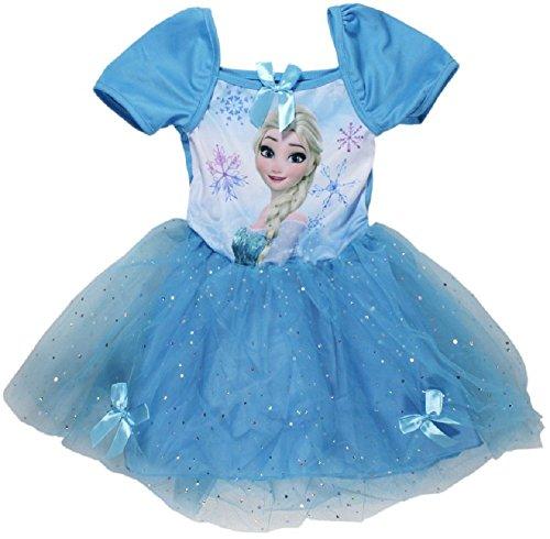 Eiskönigin Anna Elsa Sommer Kleid Tütü blau 104-134 (134) (Frozen Tutu-kleid)