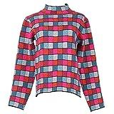 Good dress Frauen Halbhohes Rundhals-Farbe Plaid Farbe Block Stirnband Langärmelige Oberbekleidung Stricken T-Shirt, Foto Farbe, L