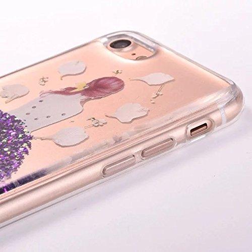 SKYXD Cover Sottile per iPhone 7 Plus TPU Silicone Morbido Soft Case Gel Trasparente e Cristallo Protettiva Custodia Glitter Brillantini Resistente Antiurto Guscio Protettivo con Disegni Creativo Bell Porpopra Fiore Ragazza
