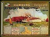 Von Hamburg nach Helgoland Mini-Blechschild Blechpostkarte - 8x11cm Nostalgieschild Retro Schild Metal tin sign