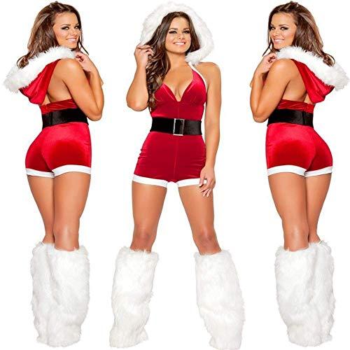 PIN Weihnachten Kostüme Frauen, europäische und amerikanische Weihnachten Kleid Dessous Halloween Kostüm Sexy Overall - Weihnachts Maskottchen Kostüm