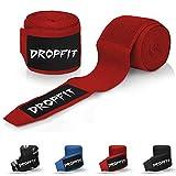 DROPFIT® Bandages avec pouce (4M) avec étui en tissu–1/2élastiques Bandages de boxe avec extra large Velcro–Bandage pour sport de combat, Rot