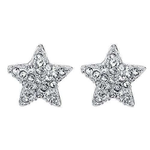 FANSING Bijoux Cadeau Étoile Clous Et Puces Boucles D'Oreilles Pour Femme Filles Avec Strass Blanc 1*1cm