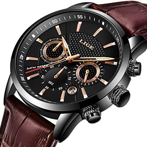 LIGE Herren Uhren Wasserdicht Militär Armbanduhr für Männer Multifunktions-Chronograph Schwarz Mode Quarz Herrenuhr Kalender mit Lederband