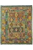 CarpetFine: Kelim Afghan Teppich 210x250 Blau,Grün - Geometrisch