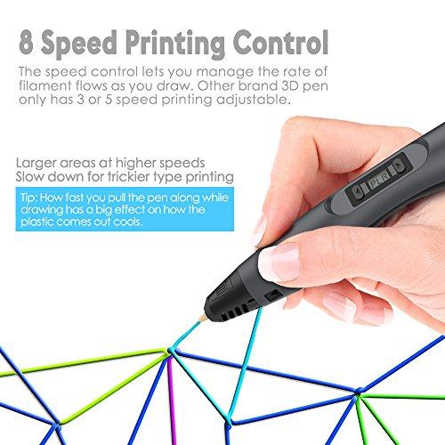 3D Drucker Stift - Aerb DIY Scribbler 3D Stereo Scopic Druck Stift mit LCD-Bildschirm, intelligente Temperaturregelung, kompatibel mit ABS und Pla Filament 1,75 mm, Anzug für Kinder, Erwachsene und Künstler - 4