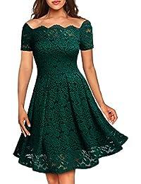 Miusol Damen Vintage 1950er Off Schulter Cocktailkleid Kurzarm Retro Spitzen Schwingen Pinup Rockabilly Kleid Grün Gr.XS