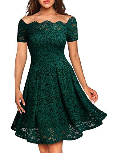 Für 1950er-jahre-kleider Frauen (MIUSOL Damen Vintage 1950er Off Schulter Cocktailkleid Kurzarm Retro Spitzen Schwingen Pinup Rockabilly Kleid Grün Gr.L)