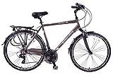 """Ammaco Traveller 700c Mens Hybrid Bike Front Suspension Alloy 21"""" Frame Grey 21"""