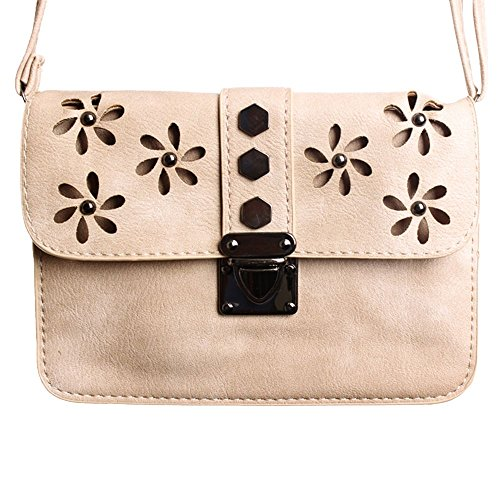 CellularOutfitter Crossbody Clutch - Laser-Cut Studded Flower Design w/ Detachable and Adjustable Strap - Taupe (Travel Bag Studded)