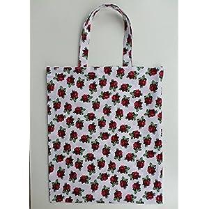 Rosen Stoff Tasche / Umwelt Beutel Blumen / 100 % Baumwolle / genäht in Deutschland / weiß rot