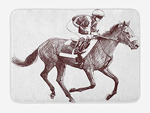 OQUYCZ Horse Bath Mat, Sketchy Illustration of Racing Horse and Jockey Equestrian Sports Theme Art, Plush Bathroom Decor Mat with Non Slip Backing, 23.6 W X 15.7 W Inches, Brown and White -