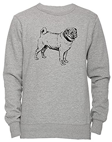 Mops Race Chien Unisexe Homme Femme Sweat-shirt Jersey Pull-over Gris Taille M Unisex Men's Women's Jumper Sweatshirt Pullover Grey Medium Size M