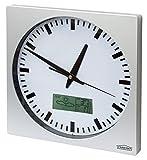 Reloj de Pared con Fechador,Termometro, Barometro, Pronóstico CHRONO ZP1, Marco Aluminio Cepillado, 25cm x 25cm