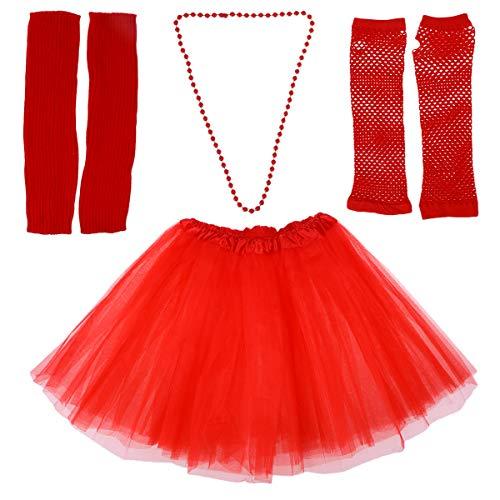 Jahre Kostüm Weibliche 80er - Toyvian 80er Jahre Kostüm Sets für Frauen 80er Jahre Tutu Rock Fingerlose Netzhandschuhe Perlenketten Beinlinge für 80er Jahre Party Zubehör (Rot)