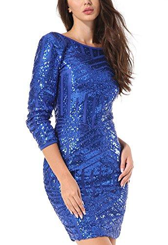 Yidarton Damen Paillettenkleid Langarm Rundhals Backless Partykleid Ballkleid Abend Minikleid (Blau, Medium) - 2