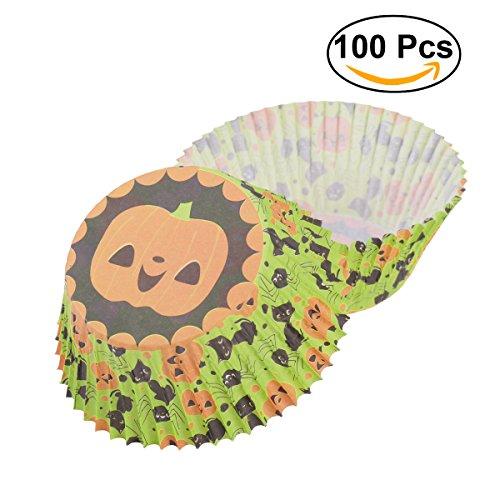 OUNONA 100 Stücke Papier Kuchen Förmchen Cupcake Wrapper für Halloween Dekoration