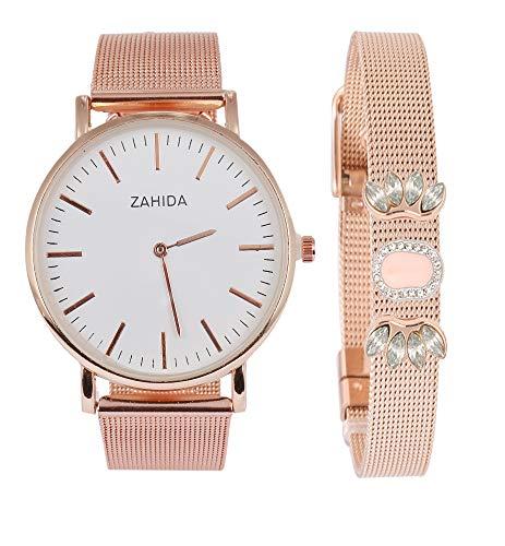 SlidJewelry - Juego de pulsera y reloj para mujer de oro rosa con colgante de perla y brillantes bohemios, regalo vintage, atrapasueños, colgante, reloj de pulsera de cuarzo
