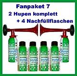 ORIGINAL Marco Fanpaket 7-----HUPEN FAN SET Hupe Tröte Fanfare Gasfanfare Pro Flasche laut Hersteller mit 200ml nicht entflammbaren Gas befüllt