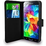 Samsung Galaxy S5 Mini - Leder Portemonnaie Tasche Flip Case Cover Tasche + Schutzfolie & Polieren Tuch ( schwarz )