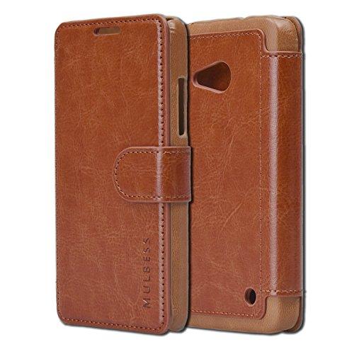 Mulbess Layered Dandy Ledertasche im Bookstyle und Kartenfach für Microsoft Lumia 550 hülle Tasche Leder,Vintage Braun